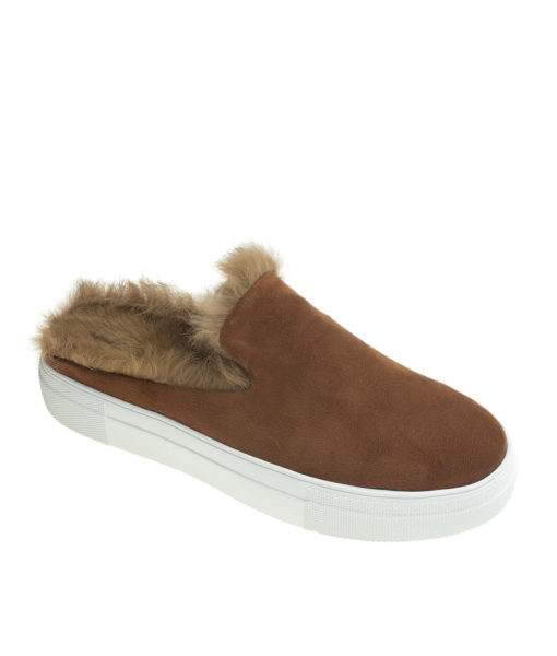 AnnaKastle Womens Fur Lined Mule Slip On Sneakers Brown