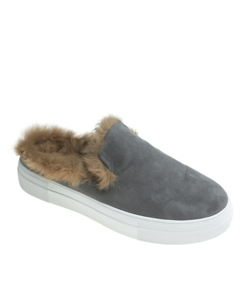 AnnaKastle Womens Fur Lined Mule Slip On Sneakers Gray