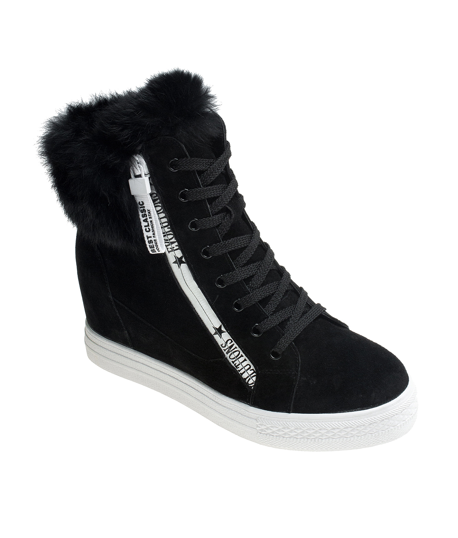 AnnaKastle Womens Fur-Trim Suede Hi Top Sneaker Boots Black