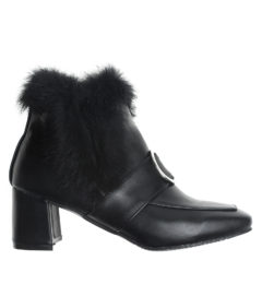 AnnaKastle Womens Ring Buckle Fur Trimmed Ankle Booties Black
