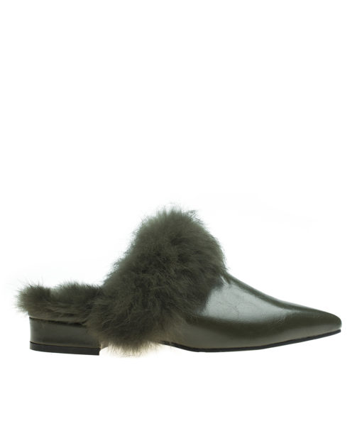 AnnaKastle Womens Polished Pointy Toe Fur-Trim Flat Mules Army Green
