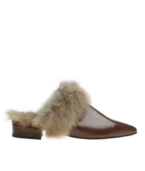 AnnaKastle Womens Polished Pointy Toe Fur-Trim Flat Mules Brown