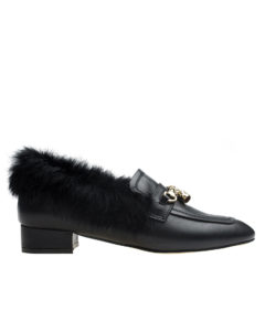 AnnaKastle Womens Fur-Trim Winter Loafers Black