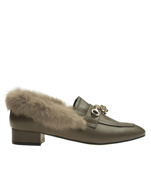 AnnaKastle Womens Fur-Trim Winter Loafers Khaki Brown