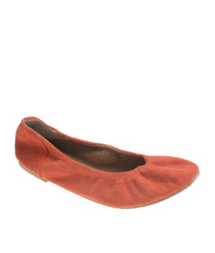 AnnaKastle Womens Vegan Suede Elasticated Ballerina Flats Orange