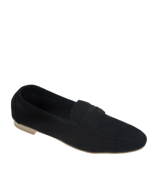 AnnaKastle Womens Soft Vegan Suede Penny Loafers Black