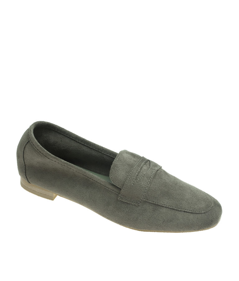 AnnaKastle Womens Soft Vegan Suede Penny Loafers Khaki