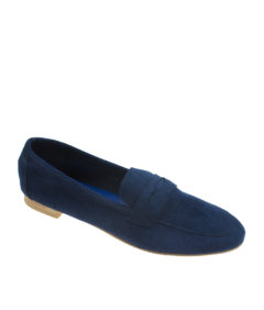 AnnaKastle Womens Soft Vegan Suede Penny Loafers Navy