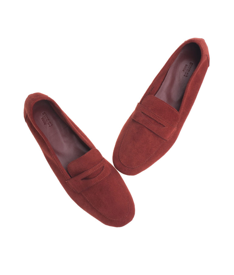 AnnaKastle Womens Soft Vegan Suede Penny Loafers Red