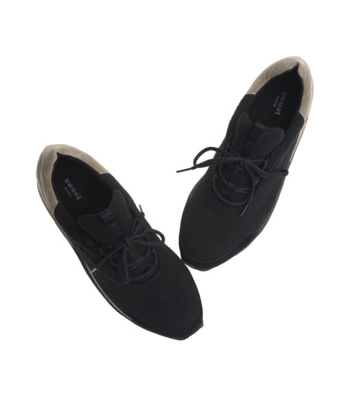 AnnaKastle Womens Comfort Low-Top Felt Sneakers Black