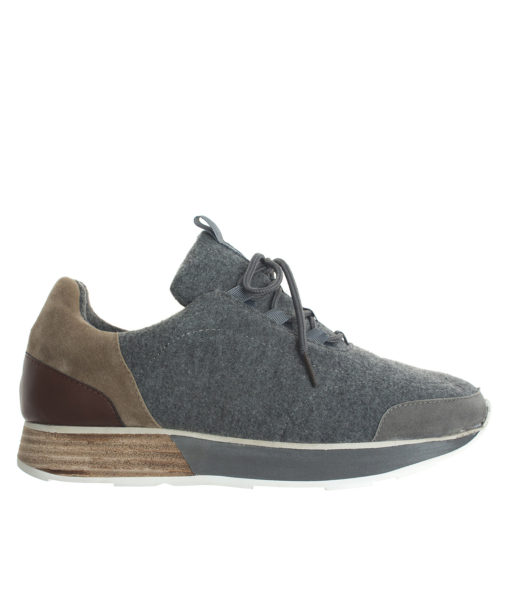 AnnaKastle Womens Comfort Low-Top Felt Sneakers Gray