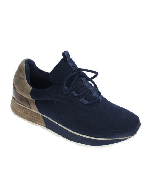 AnnaKastle Womens Comfort Low-Top Felt Sneakers Navy