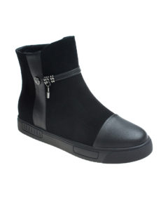 AnnaKastle Womens Lock Sneaker Ankle Boots Black
