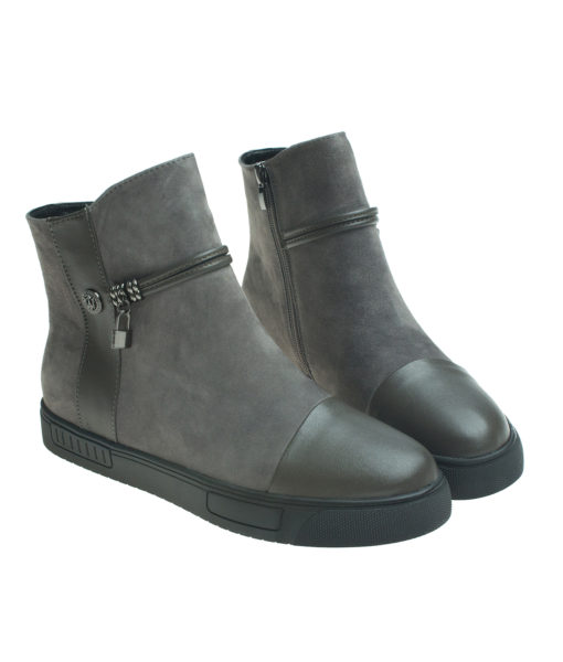AnnaKastle Womens Lock Sneaker Ankle Boots Gray