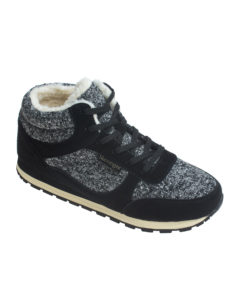 AnnaKastle Womens Faux Shearling Lined Tweed Sneakers Black