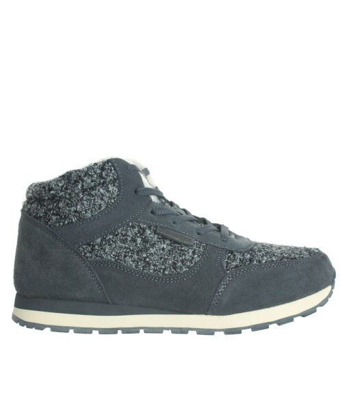 AnnaKastle Womens Faux Shearling Lined Tweed Sneakers Gray
