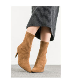 AnnaKastle Womens Vegan Suede Sock Booties Camel