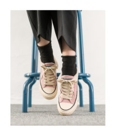 AnnaKastle Womens Faux Fur Trim Lace Up Velvet Sneakers Pink
