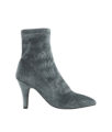AnnaKastle Womens Velvet Sock Booties Charcoal