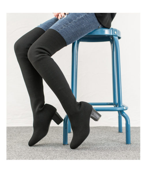 AnnaKastle Womens Black Over The Knee Sock Boots