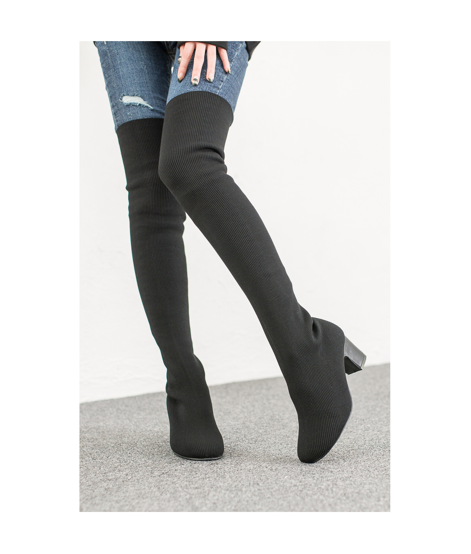 Black Over The Knee Sock Boots Annakastleshoes Com