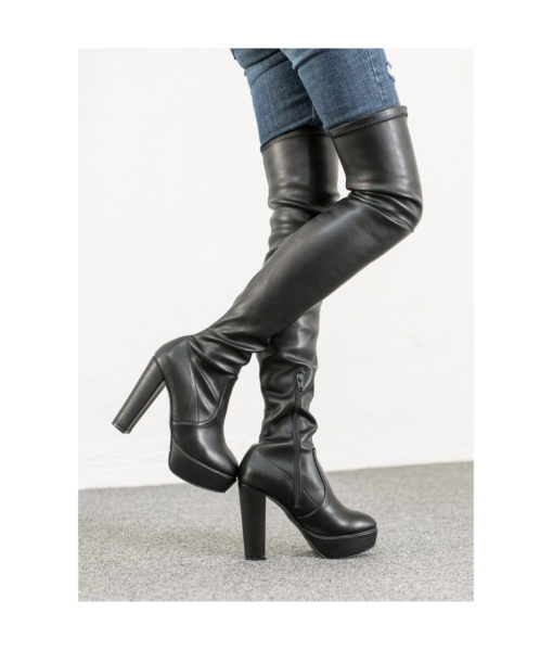 AnnaKastle Womens Platform Over The Knee High Heel Boots Black Leather