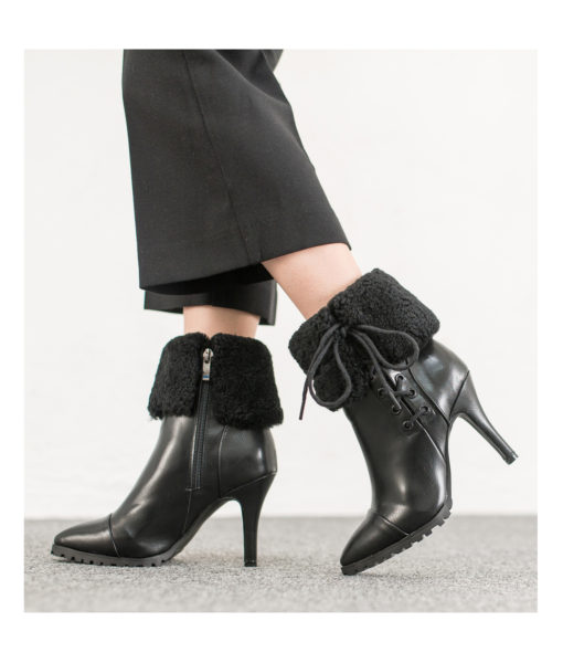 AnnaKastle Womens Pointy Toe Shearling Ankle Booties Black