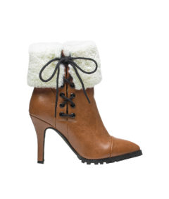 AnnaKastle Womens Pointy Toe Shearling Ankle Booties Brown