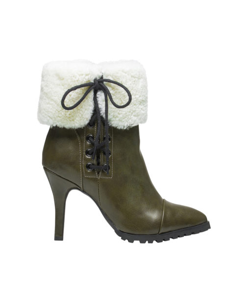 AnnaKastle Womens Pointy Toe Shearling Ankle Booties KhakiGreen