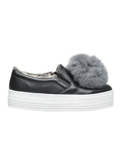 AnnaKastle Womens Faux Fur Lined Pom Pom Slip Ons Black