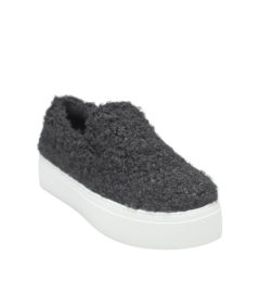 AnnaKastle Womens Curly Boucle Slip On Sneakers Black