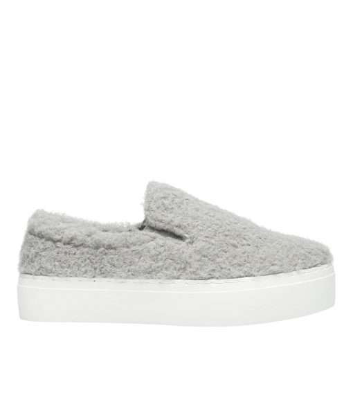 AnnaKastle Womens Curly Boucle Slip On Sneakers Gray