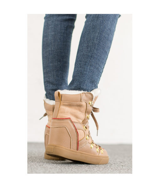AnnaKastle Womens Faux Fur Lined Snow Boots Beige