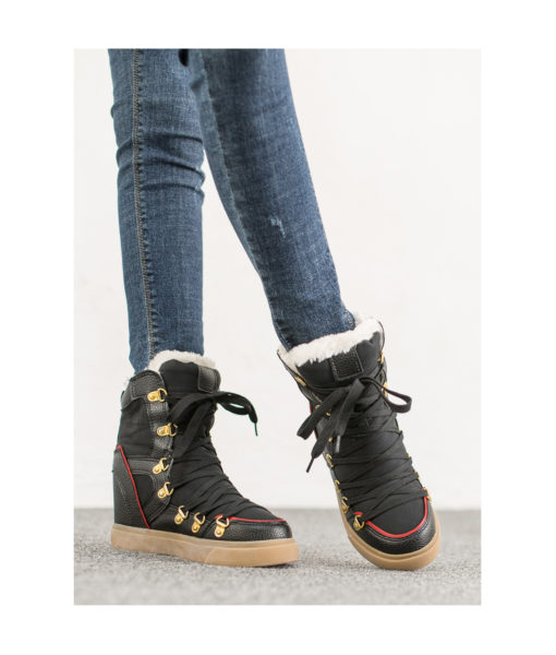 AnnaKastle Womens Faux Fur Lined Snow Boots Black