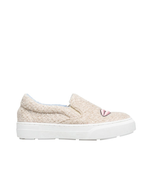 AnnaKastle Womens Eye Lips Embroidered Boucle Shoes Beige