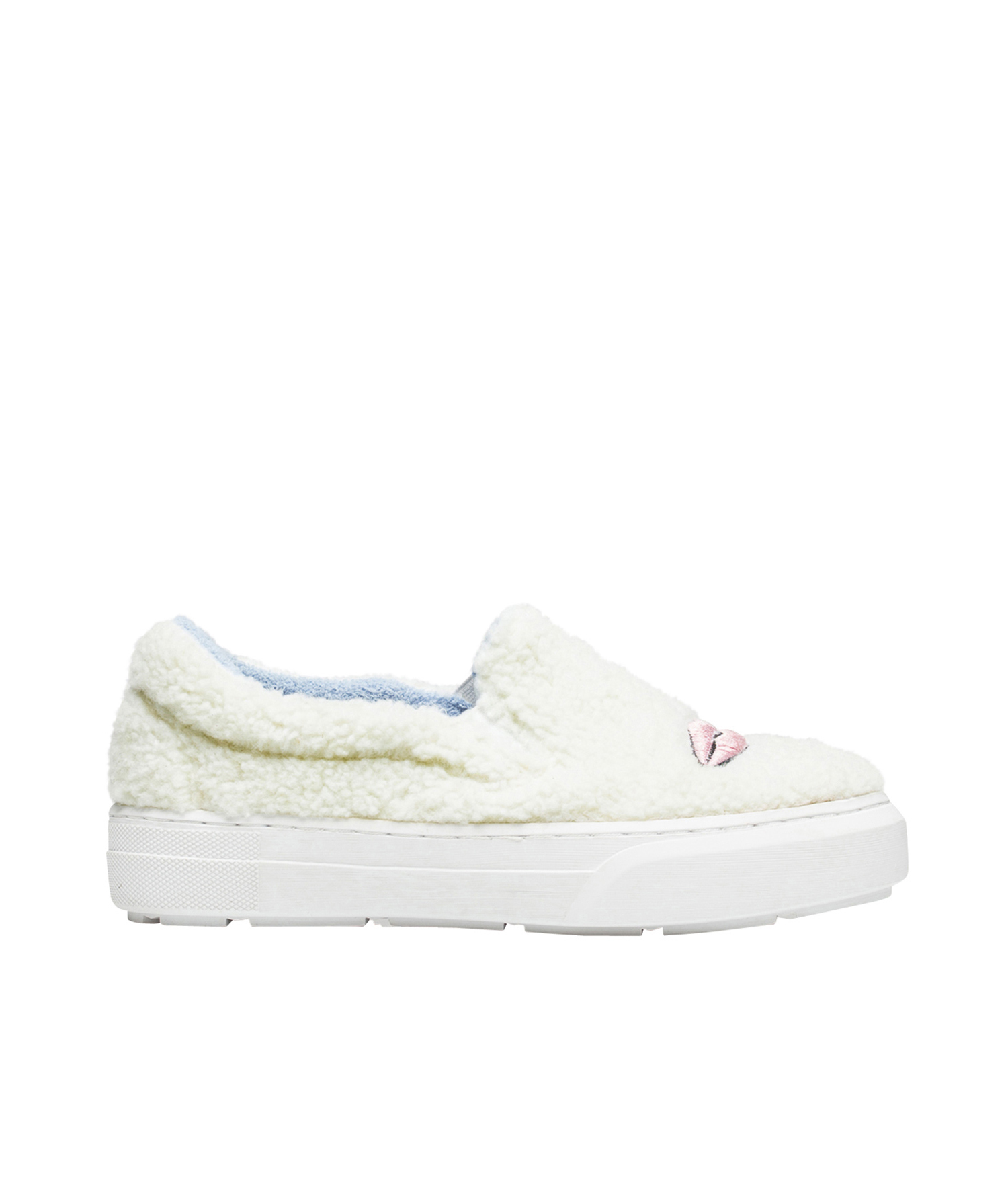 AnnaKastle Womens Eye Lips Embroidered Boucle Shoes White