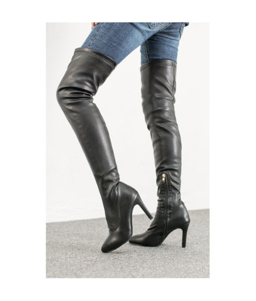 AnnaKastle Womens Fleece Lined Over The Knee Heeled Boots Vegan Leather