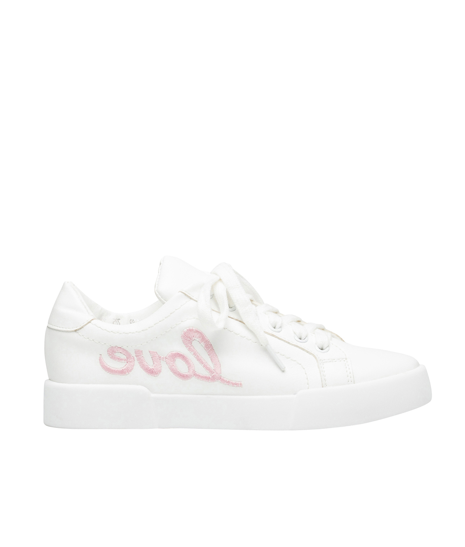 AnnaKastle Womens Love Heart Patch White Low Top Sneakers