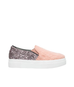 AnnaKastle Womens Glitter Trimmed Angora Slip On Sneakers Pink