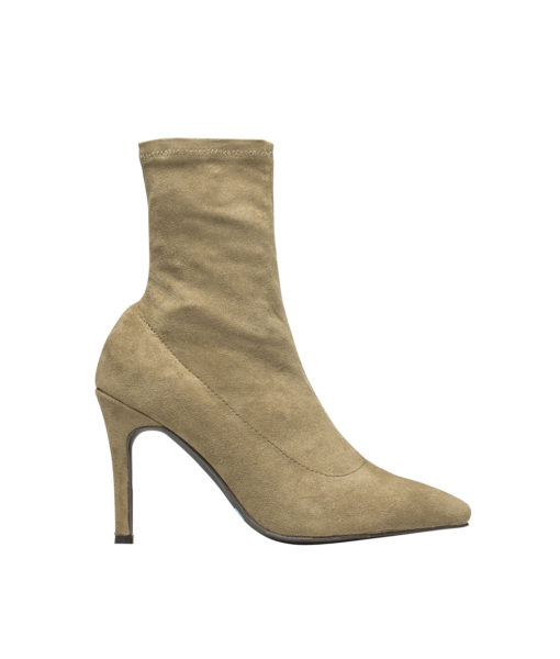 AnnaKastle Womens Pointy Toe Stretch Ankle Booties Beige