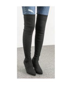 AnnaKastle Womens Pointy Toe Stretch Fabric Thigh High Boots Black