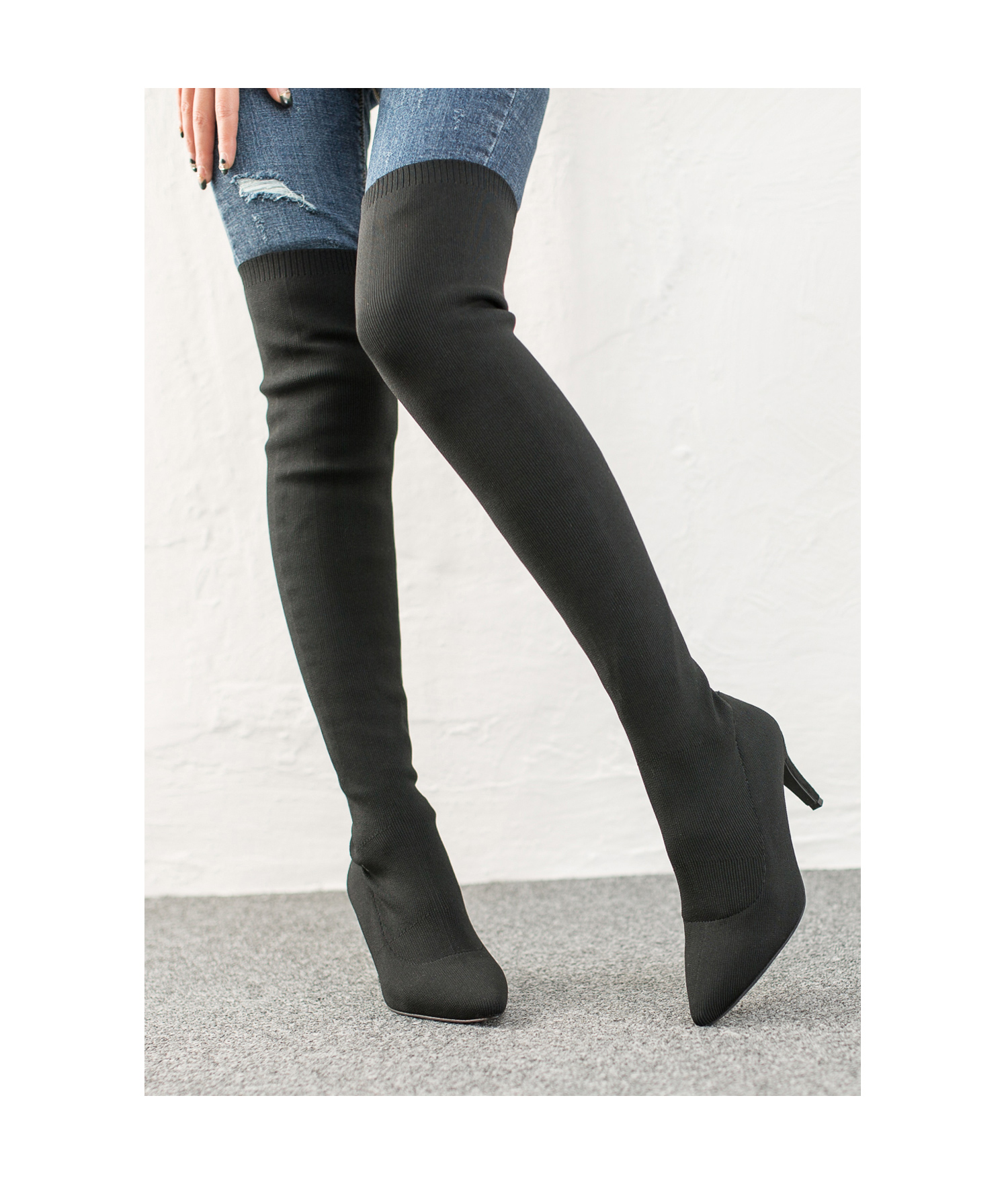 Pointy Toe Stretch Fabric Thigh High Boots