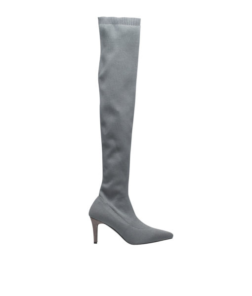 AnnaKastle Womens Pointy Toe Stretch Fabric Thigh High Boots Gray