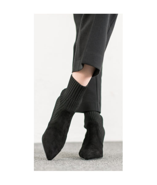 AnnaKastle Womens Pointy Toe Knitted Sock Booties Black