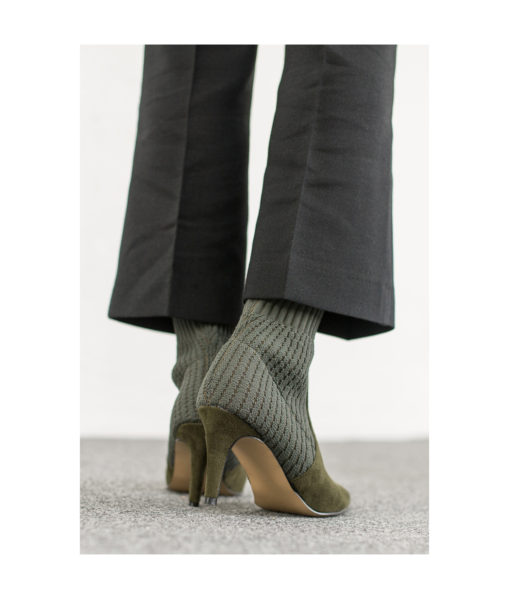 AnnaKastle Womens Pointy Toe Knitted Sock Booties Olive