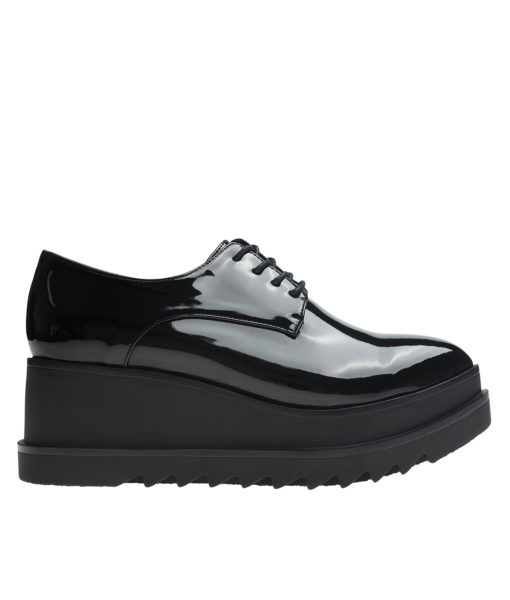 AnnaKastle Womens Vegan Patent Black Oxford Creepers