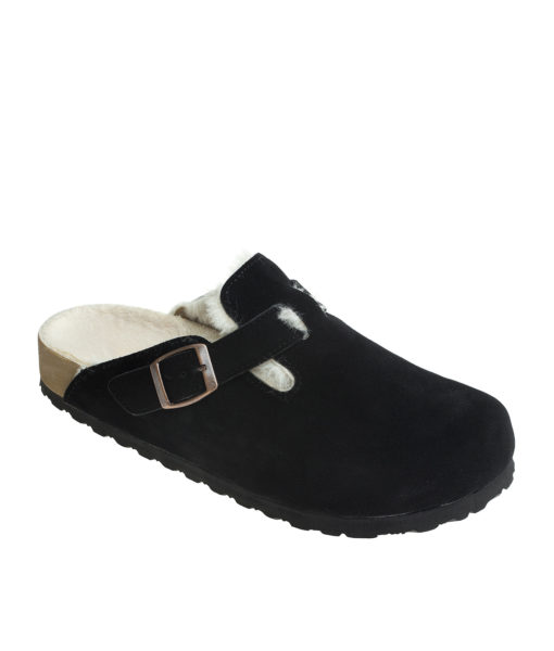 AnnaKastle Womens Shearling Comfort Faux Suede Clogs Black