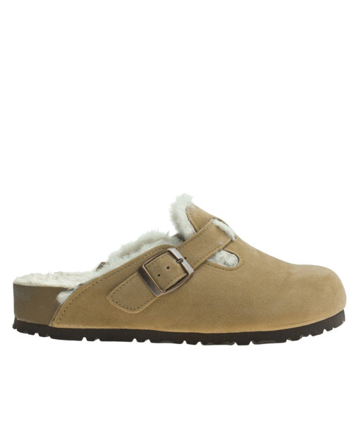 AnnaKastle Womens Shearling Comfort Faux Suede Clogs Camel