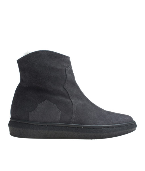 AnnaKastle Womens Faux Fur Lined Genuine Suede Sneaker Boots Charcoal