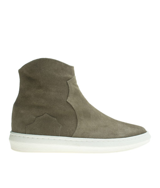 AnnaKastle Womens Faux Fur Lined Genuine Suede Sneaker Boots KhakiBrown